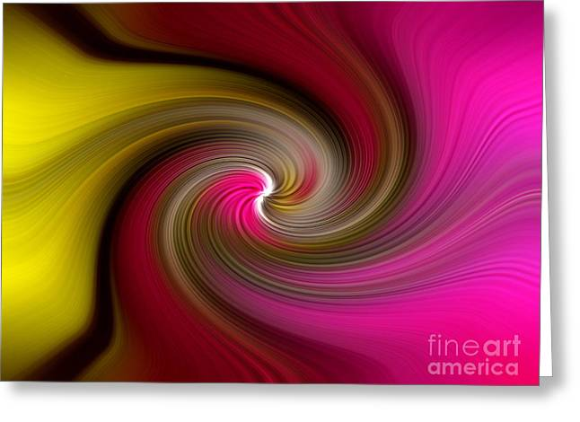 Yellow Into Pink Swirl Greeting Card