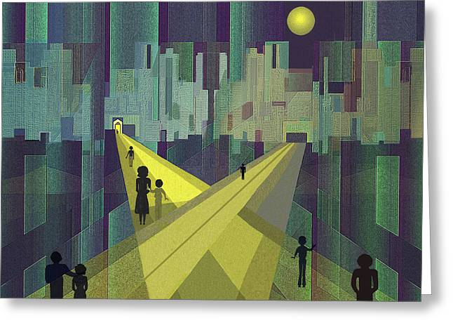 003 - Nightwalking  To A Distant City Greeting Card by Irmgard Schoendorf Welch