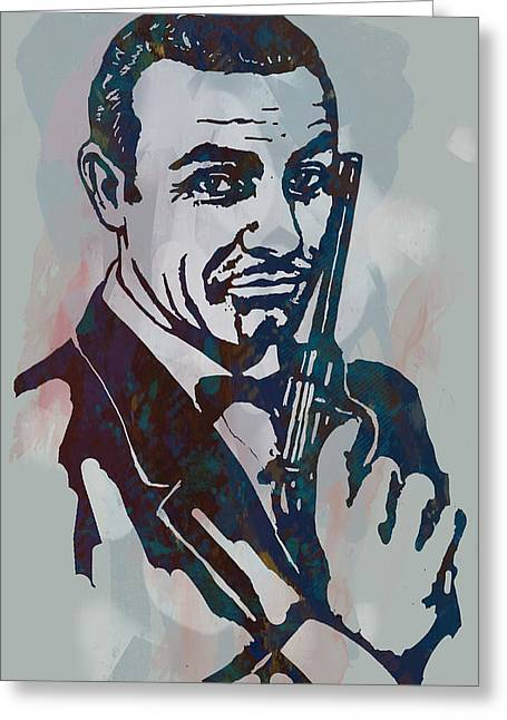 007 James Bond - Stylised Etching Pop Art Poster Greeting Card by Kim Wang
