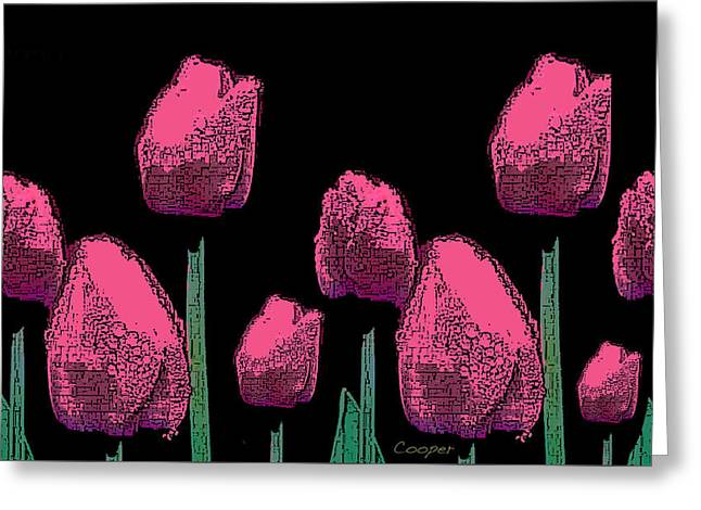 010 Hot Pink Tulips 2a Greeting Card