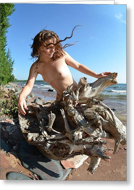 0114 Windswept Nude In Nature  Greeting Card by Chris Maher