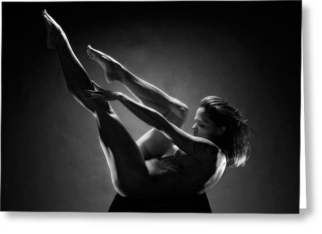 0156 Art Nude Black White Strong Mature Woman  Greeting Card