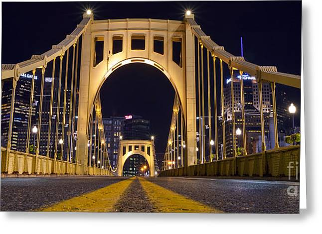 0304 Roberto Clemente Bridge Pittsburgh Greeting Card by Steve Sturgill