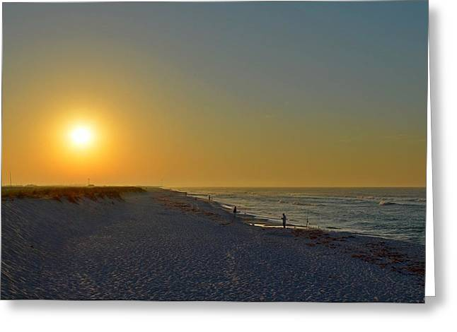 0501 Navarre Beach Sunrise Over Fishermen Greeting Card by Jeff at JSJ Photography