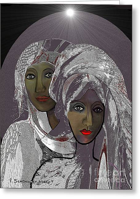 065 - White Veiled Ladies   Greeting Card