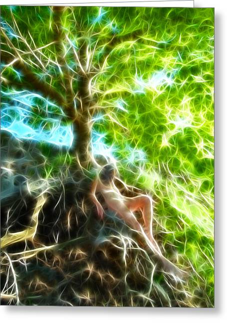 0789 Abstract Figure Energy Nude In Nature Under Tree Greeting Card