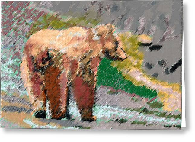 081914 Pastel Painting Grizzly Bear Greeting Card
