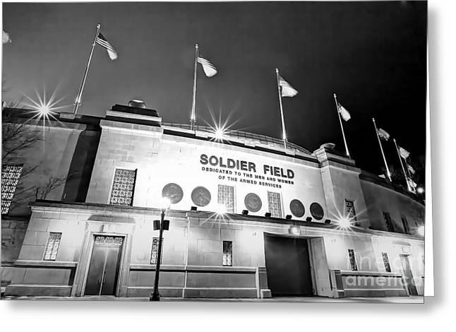 0879 Soldier Field Black And White Greeting Card