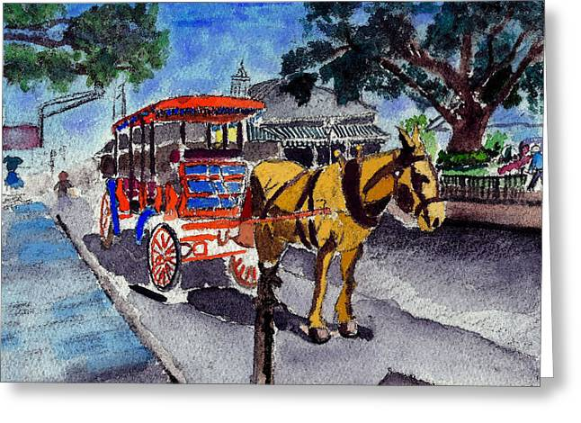 090514 New Orleans Carriages Watercolor Greeting Card