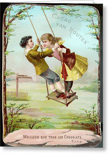 A Boy And A Girl Swing  Together Greeting Card by Mary Evans Picture Library