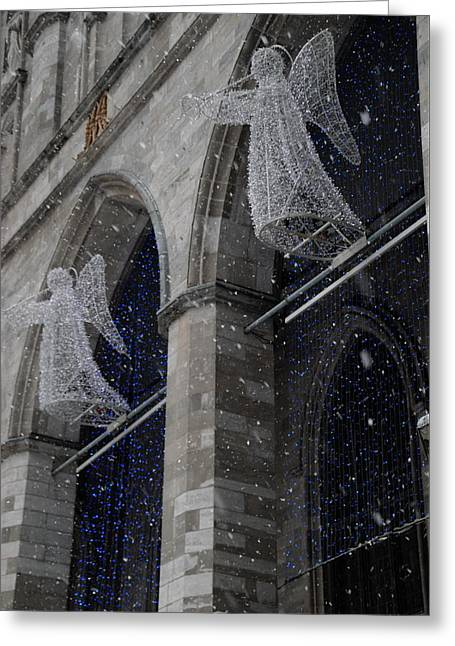 Angels On High Greeting Card by Jacqueline M Lewis