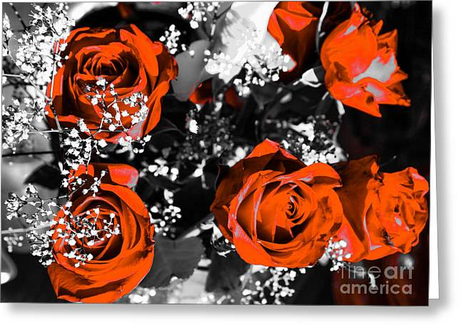 Bouquet Of Orange Roses Greeting Card