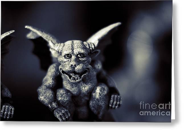 Evil Gargoyle Statue Greeting Card