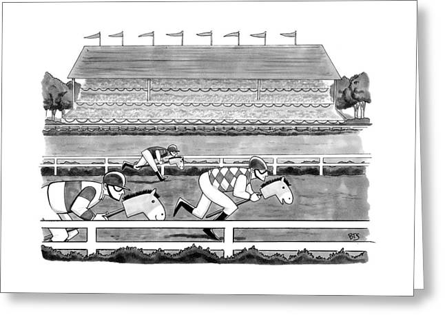 Men Race On Toy Horses Greeting Card
