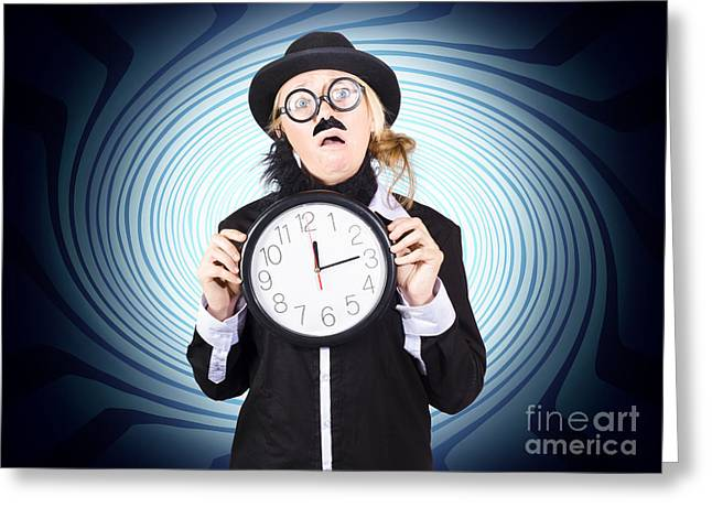 Nutty Professor With Clock. Crazy Science Time Greeting Card by Jorgo Photography - Wall Art Gallery