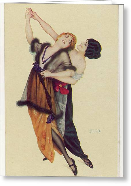 Two Stylishly Dressed Ladies  Dance Greeting Card by Mary Evans Picture Library