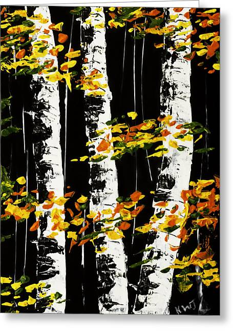 White Birch Trees In Fall On Black Background Painting Greeting Card