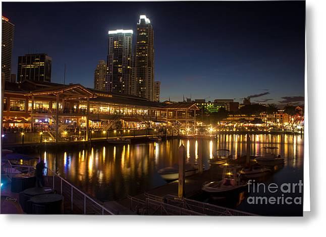 Miami's Bayside Market Place Greeting Card by Rene Triay Photography