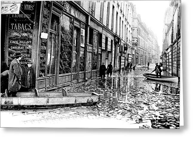10th Century Flooded Paris Street Greeting Card