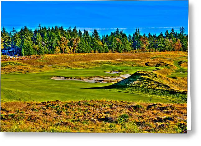 #13 At Chambers Bay Golf Course - Location Of The 2015 U.s. Open Tournament Greeting Card by David Patterson