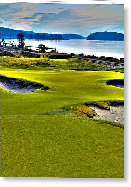 #17 At Chambers Bay Golf Course - Location Of The 2015 U.s. Open Championship Greeting Card by David Patterson