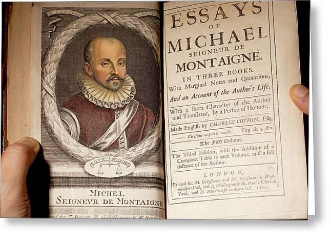 1700 Michel De Montaigne Essays Portrait Greeting Card by Paul D Stewart
