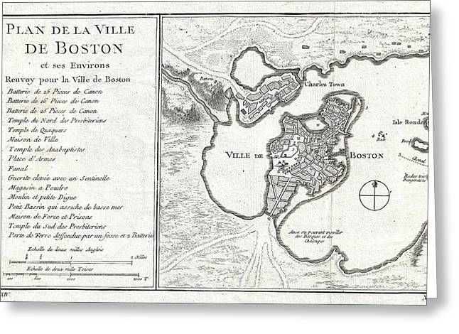 1756 Bellin Map Of Boston Massachusetts Greeting Card by Paul Fearn