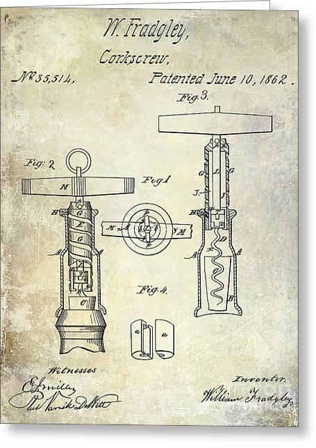1862 Corkscrew Patent Drawing Greeting Card by Jon Neidert