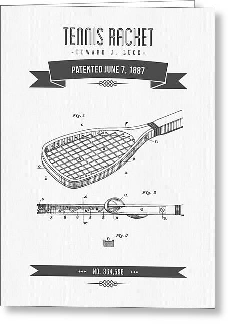 1887 Tennis Racket Patent Drawing - Retro Gray Greeting Card by Aged Pixel