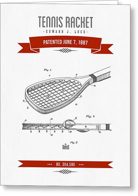 1887 Tennis Racket Patent Drawing - Retro Red Greeting Card by Aged Pixel