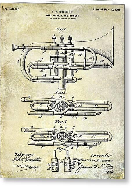 1901 Wind Musical Instrument Patent Drawing  Greeting Card by Jon Neidert