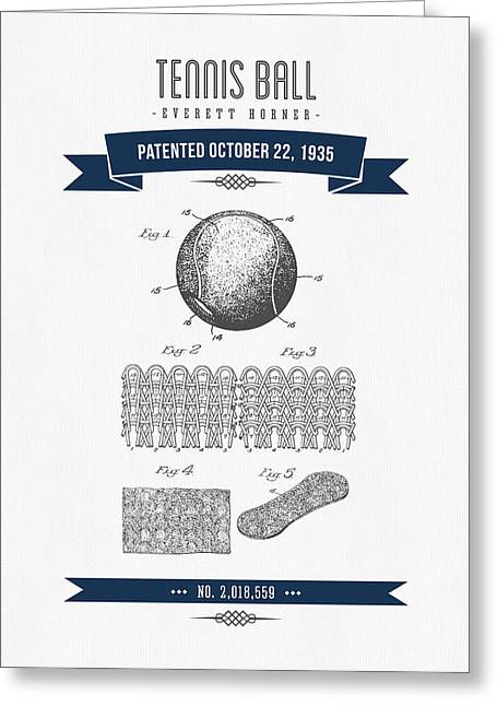 1907 Tennis Racket Patent Drawing - Retro Navy Blue Greeting Card by Aged Pixel