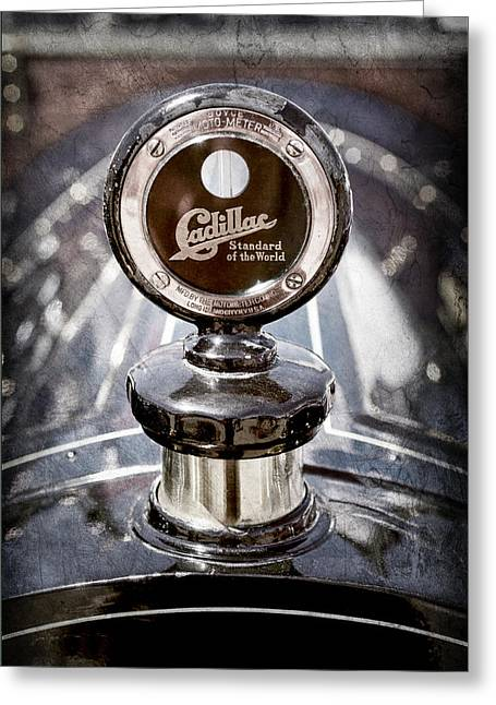 1911 Cadillac Roadster Hood Ornament - Moto Meter Greeting Card by Jill Reger