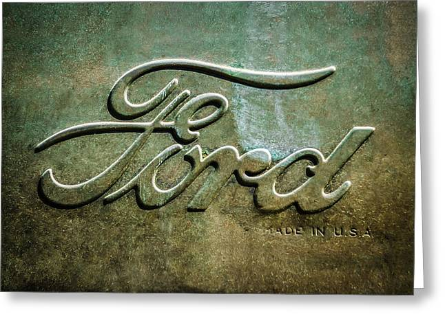 1912 Ford Hood Ornament - Emblem -0496bw Greeting Card by Jill Reger
