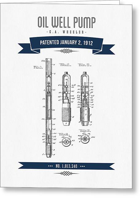 1912 Oil Well Pump Patent Drawing - Retro Navy Blue Greeting Card by Aged Pixel
