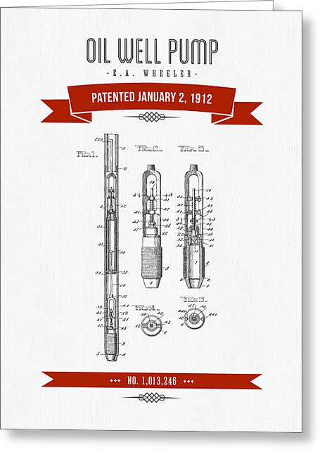 1912 Oil Well Pump Patent Drawing - Retro Red Greeting Card by Aged Pixel