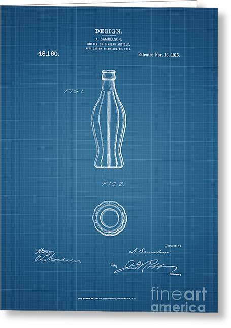 1915 Coca Cola Bottle Design Patent Art 3 Greeting Card by Nishanth Gopinathan