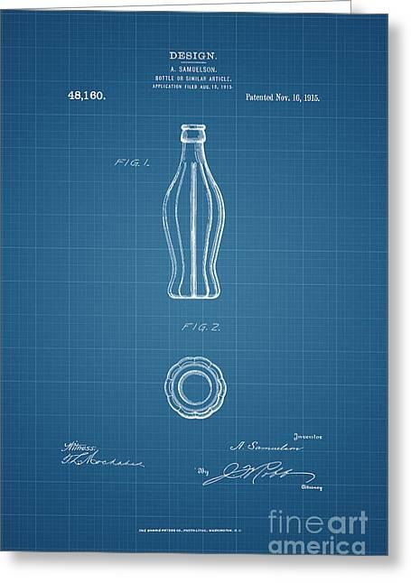1915 Coca Cola Bottle Design Patent Art 3 Greeting Card