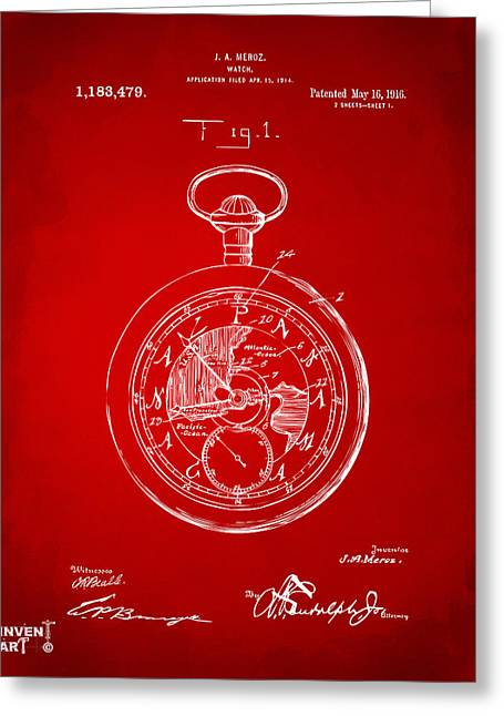 1916 Pocket Watch Patent Red Greeting Card by Nikki Marie Smith