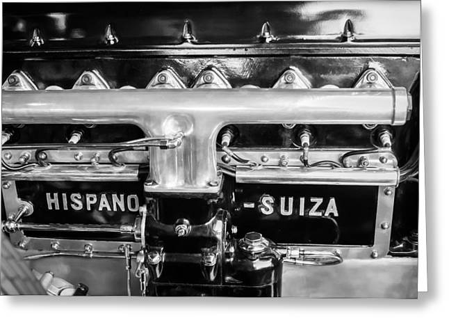 1924 Hispano-suiza Engine Emblem -0120c Greeting Card by Jill Reger