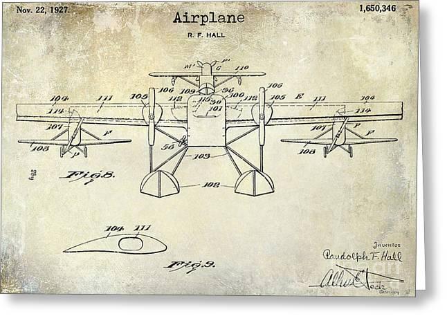 1927 Airplane Patent Drawing Greeting Card by Jon Neidert