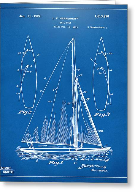 1927 Sailboat Patent Artwork - Blueprint Greeting Card by Nikki Marie Smith