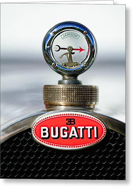 1928 Bugatti Type 44 Cabriolet Hood Ornament - Emblem Greeting Card by Jill Reger