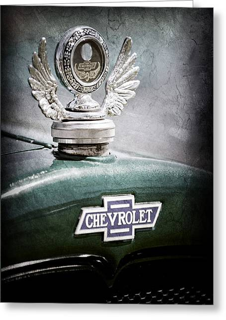 1928 Chevrolet Stake Bed Pickup Hood Ornament - Emblem Greeting Card by Jill Reger
