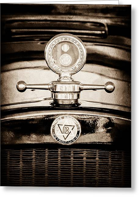 1928 Dodge Brothers Hood Ornament - Moto Meter Greeting Card by Jill Reger