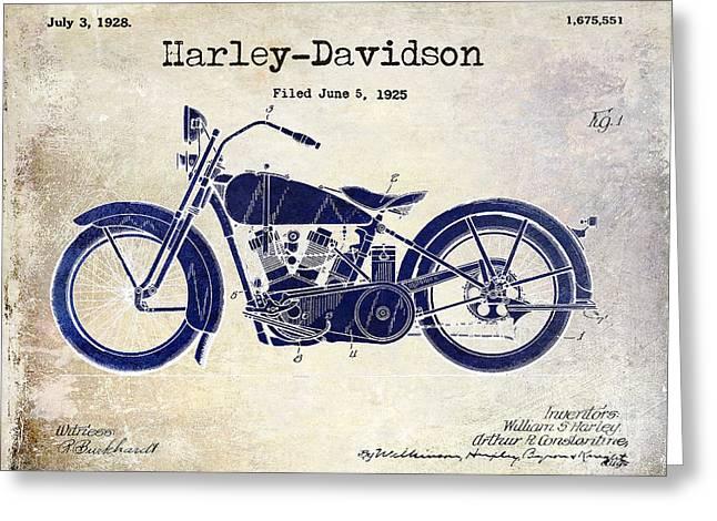 1928 Harley Davidson Patent Drawing 2 Tone Blue Greeting Card
