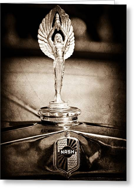 1928 Nash Coupe Hood Ornament Greeting Card