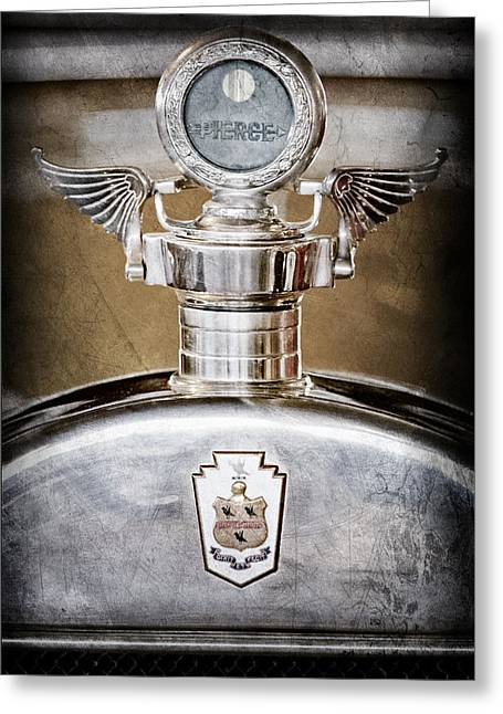 1928 Pierce-arrow Hood Ornament - Moto Meter Greeting Card by Jill Reger