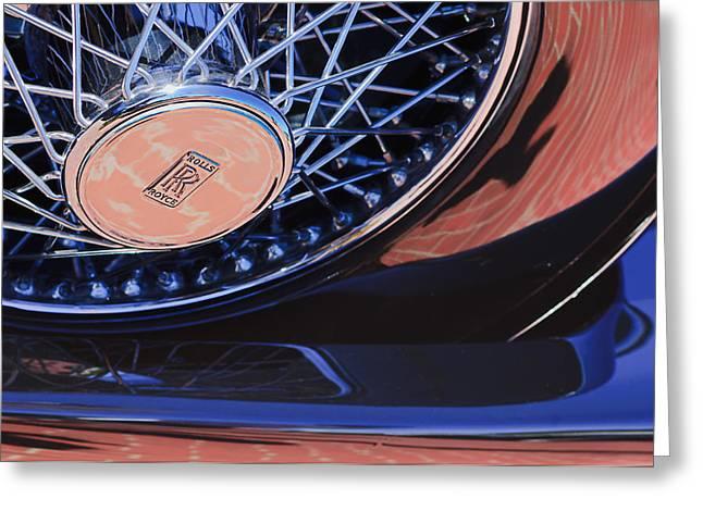 1929 Rolls-royce Phantom I Ascot Phaeton Spare Tire Emblem Greeting Card by Jill Reger
