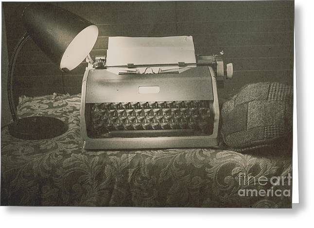 1930s Press Release On Antique Reporters Desk Greeting Card by Jorgo Photography - Wall Art Gallery